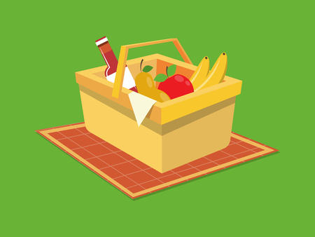 Picnic basket with food flat style. Cartoon colorful vector illustration