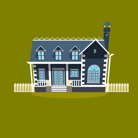 country house style: House building flat style. Cartoon colorful vector illustration