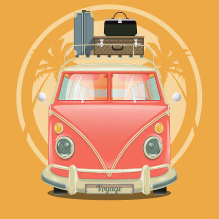 minibus: Minibus with suitcases and palm trees. Cartoon colorful vector illustration Illustration