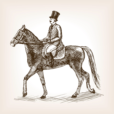 scratchboard: Vintage gentleman ride horse sketch style vector illustration. Old engraving imitation. Illustration