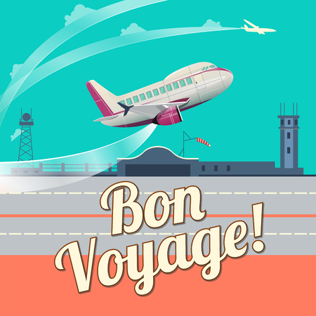 Airplane take off flat style vector illustration. Cartoon colorful image.