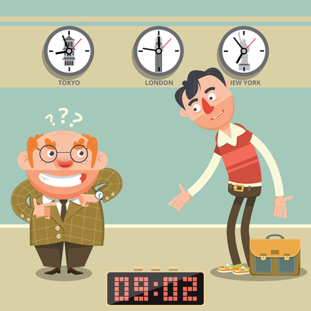 appointment: Man late for appointment flat style. Cartoon colorful vector illustration