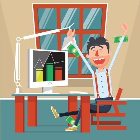 rejoices: Man rejoices profits flat style. Businessman happy with money income. Cartoon colorful vector illustration Illustration