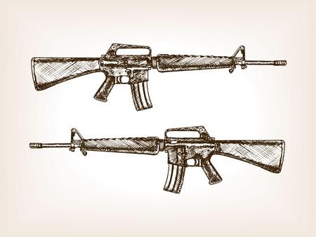 automatic rifle: Automatic rifle sketch style vector illustration. Muchine gun. Old hand drawn engraving imitation. Illustration