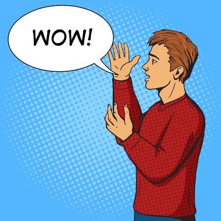 argues: Man gesturing and argues. Cartoon pop art vector illustration. Human comic book vintage retro style.