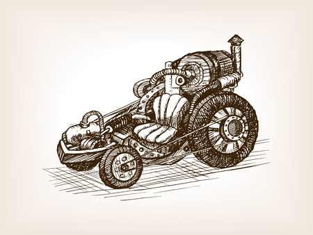 scratchboard: Steampunk transport vehicle sketch style vector illustration. Old engraving imitation.
