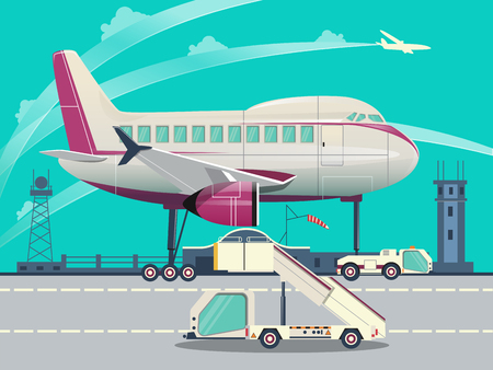 air port: Airport with aircraft flat style vector illustration. Cartoon colorful image.