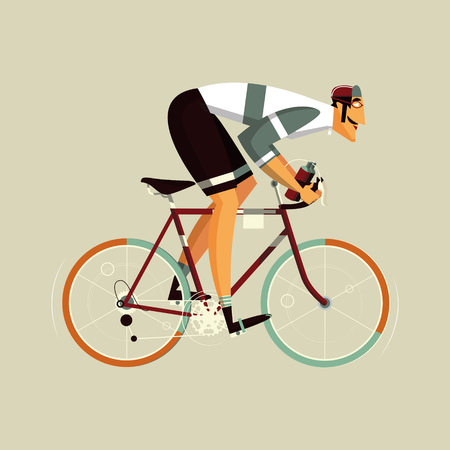 Cyclist athlete character cartoon vector illustration. Flat style colorful image