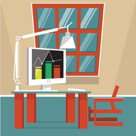 office building interior: Office building interior. Cartoon flat colorful vector illustration.