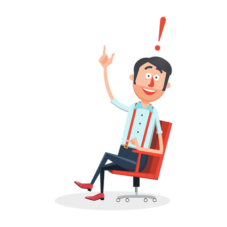 achievement clip art: Happy man with new idea flat style. Guy with smile. Cartoon colorful vector illustration Illustration