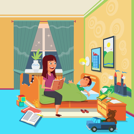 children's story: Mother read book to child. Cartoon colorful vector illustration