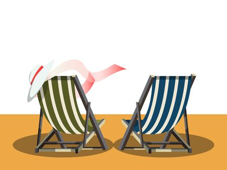 deck chair isolated: Deck chairs on the beach. Cartoon colorful vector illustration Illustration