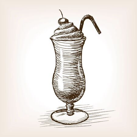 milk shake: Milk shake sketch style vector illustration. Old hand drawn engraving imitation. Illustration