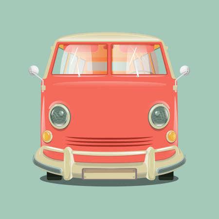 minibus: Pink color minibus . Cartoon colorful vector illustration