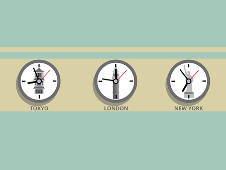time zones: Clock in different time zones. Cartoon colorful vector illustration