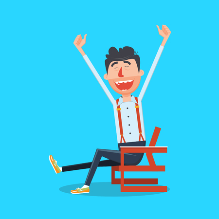 Happy man with hands up flat style. Guy with smile. Cartoon colorful vector illustration