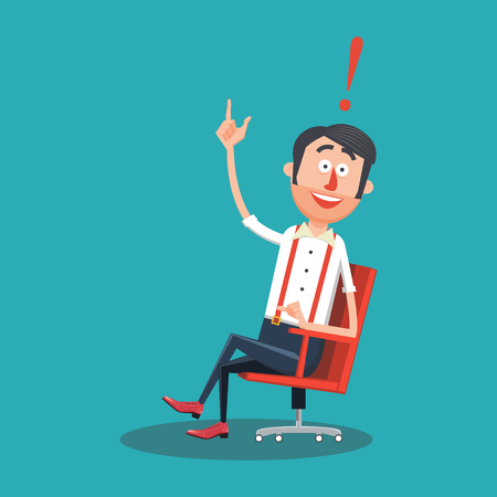 new idea: Happy man with new idea flat style. Guy with smile. Cartoon colorful vector illustration Illustration