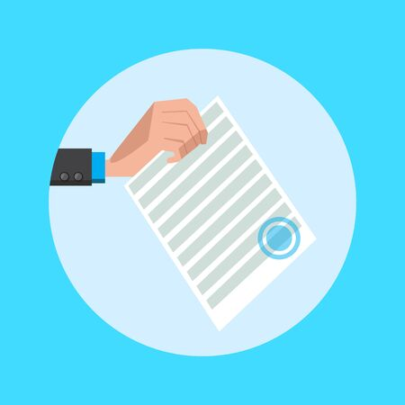 signed: Hand holds a document flat style. Cartoon colorful vector illustration
