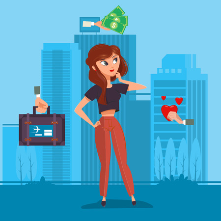 love of money: Girl chooses money travel and love flat style. Cartoon colorful vector illustration Illustration