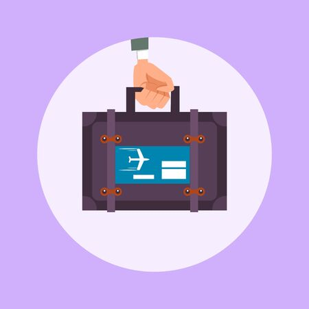 travel suitcase: Hand holds a travel suitcase flat style. Cartoon colorful vector illustration
