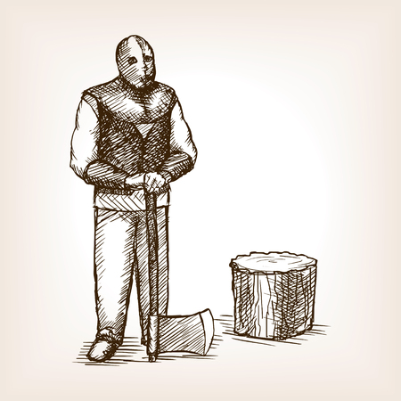 Executioner with an ax sketch style vector illustration. Old hand drawn engraving imitation.