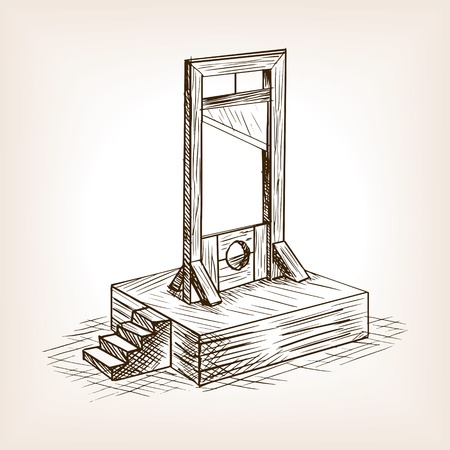 Guillotine sketch style vector illustration. Old hand drawn engraving imitation.