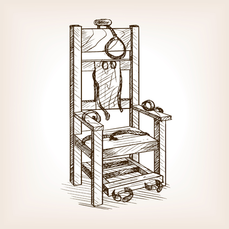 Electric chair sketch style vector illustration. Old hand drawn engraving imitation.