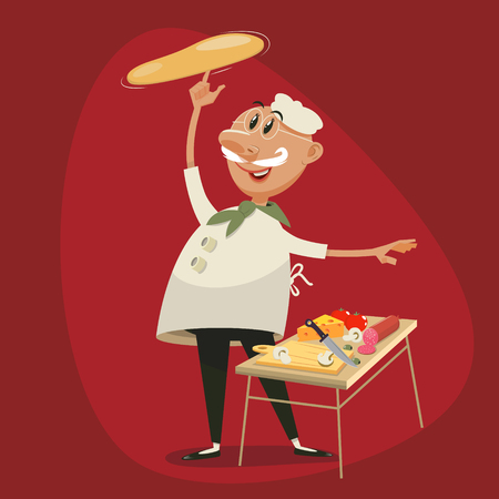 Pizza cooking by chef. Cartoon character colorful vector illustration Illustration