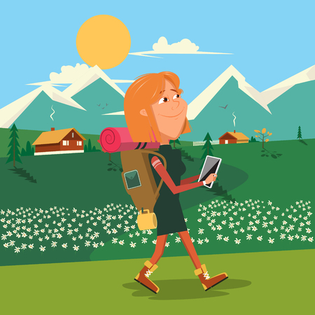 sleeping bags: Young woman go to camping with backpack. Cartoon colorful vector illustration