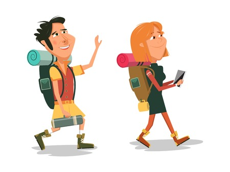 couple hiking: Family go to camping with backpacks. Cartoon colorful vector illustration
