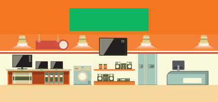 shop interior: Consumer electronics shop interior. Cartoon vector illustration