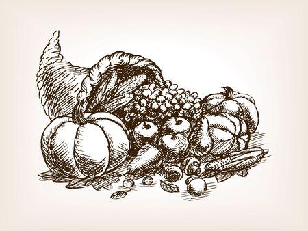 Vegetables harvest sketch style vector illustration. Thanksgiving Day still life. Old engraving imitation.