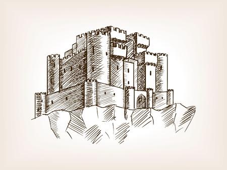 castillo medieval: ilustración del vector del estilo del castillo medieval boceto. Grabado antiguo de imitación.