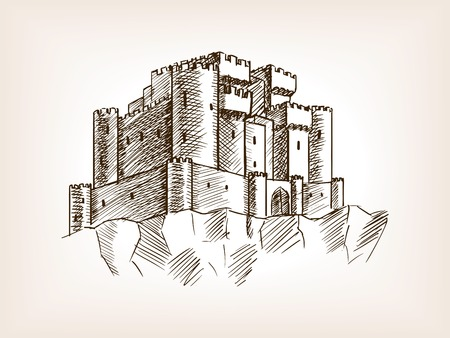 scratchboard: Medieval castle sketch style vector illustration. Old engraving imitation.
