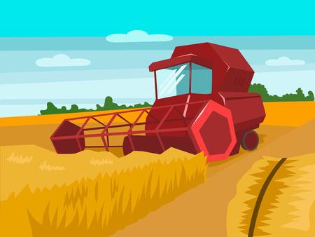 Harvester verzamelen tarwe. Oogsten landschap. Cartoon kleurrijke vector illustratie