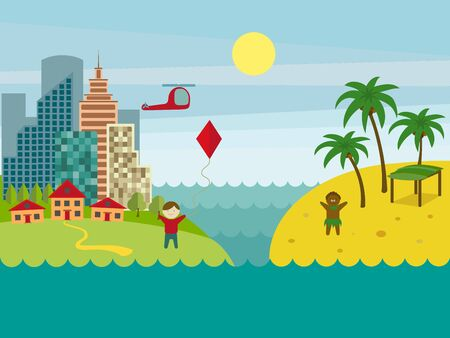 Developed and underdeveloped countries. City landscape. Cartoon colorful vector illustration Illustration