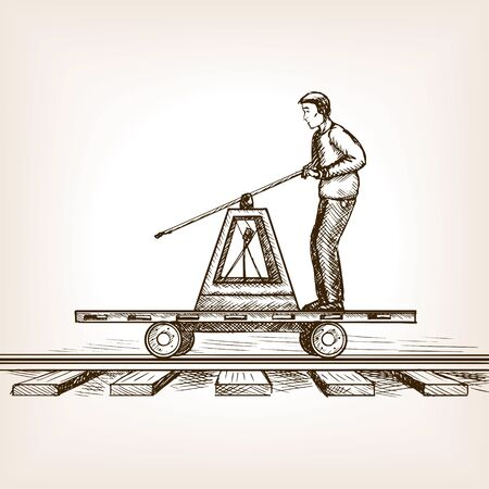 scratchboard: Man drive railway draisine handcar sketch style vector illustration. Old engraving imitation.
