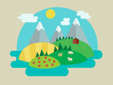minimalistic: Minimalistic nature landscape. Cartoon colorful vector illustration
