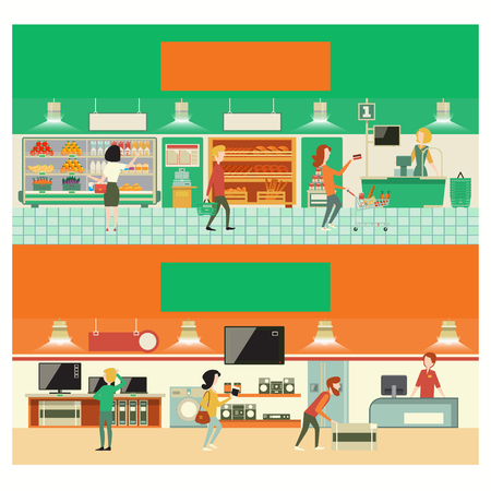consumer electronics: Eco shop and consumer electronics interior. Cartoon vector illustration