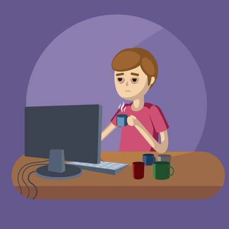 hard working: Man works with computer at night. Guy hard working. Cartoon colorful vector illustration Illustration