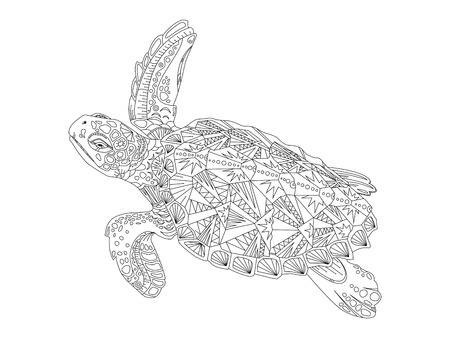 Turtle coloring book vector illustration. Anti-stress coloring for adult. 向量圖像
