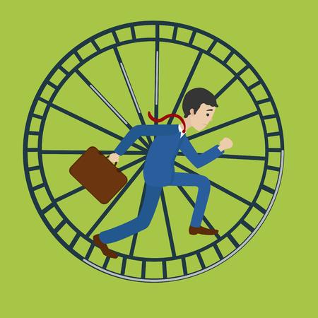 obligations: Businessman in hamster wheel. Hard work metaphor. Cartoon colorful vector illustration Illustration