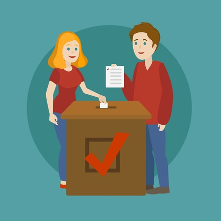 Young family voting. Voting in elections. Cartoon colorful vector illustration