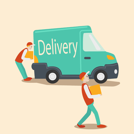 unload: Delivery vehicle. Guys unload truck with packages. Cartoon colorful vector illustration Illustration