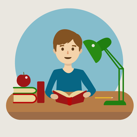 pupil: Pupil at school. Learning at school. Cartoon colorful vector illustration