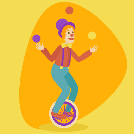 one wheel bike: Juggler man on retro vintage old unicycle cartoon style vector illustration. Juggler circus on a unicycle