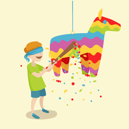 Child breaks the pinata. Festive event. Cartoon colorful vector illustration