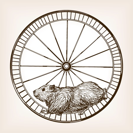 rough draft: Hamster in a wheel sketch style vector illustration. Old engraving imitation.