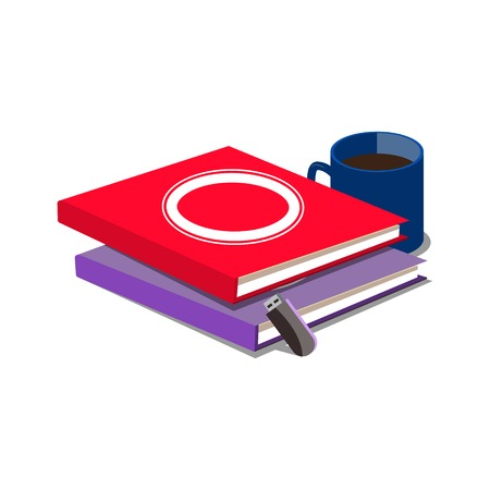 flash drive: Books flash drive and cup of coffee. Cartoon colorful vector illustration
