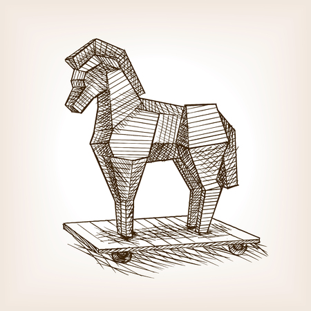 wooden horse: Trojan horse sketch style vector illustration. Historical object. Old hand drawn engraving imitation.